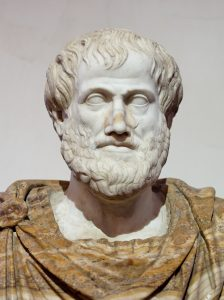 Aristotle (384-322 BC) - Bust of Aristotle in Marble, Roman copy after a Greek bronze original from 330 BC; the alabaster mantle is a modern addition, photographed by Jastrow in 2006 at the national museum of Rome.